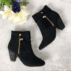 Report black tassel zip up heeled Booties sz 8